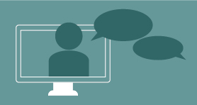 Computer with speech bubble during an online meeting